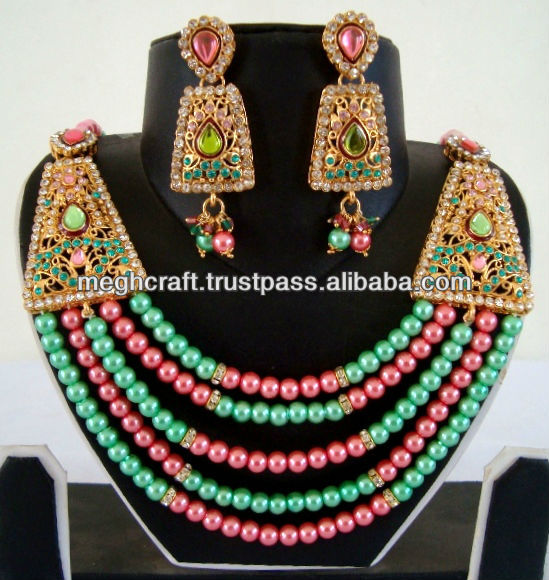 Wholesale pearl Jewelry - Indian pearl jewellery - artificial pearl necklace set-- one gram gold jewellery -imitation jewellery