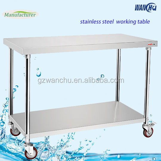 Restaurant Double Tiers Kitchen Work Table with Wheels/Food Prep Table/Commercial Stainless Steel Work Table