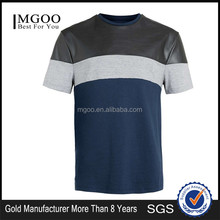 OEM ODM Services Black Leather T-shirt 100% Cotton Short Sleeves Contrast Blue Tee Shirts