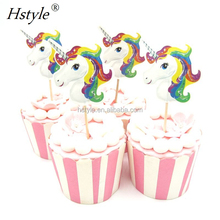 Color Unicorn Cupcake Topper Wedding 1St Birthday Party Supplies Baby Shower Cake Decoration PQ286
