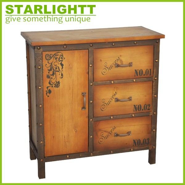 antique decals simple euope style wooden storage drawer chest cabinet wood furniture