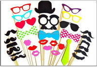 Hot Sale 32 pcs Funny Photo Booth Props Hat Mustache Birthday Party wedding favor wholesale