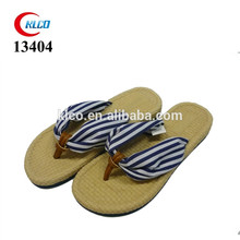 Cheap custom wholesale cotton fabric strap fancy straw flip flops