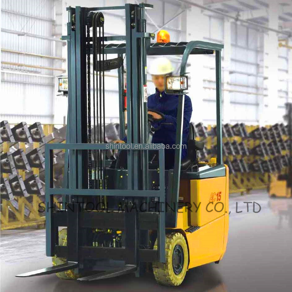 1-2 ton 3 Wheel Superelastic Electric Forklift Small Turning Radius Forklift Use For Warehouse