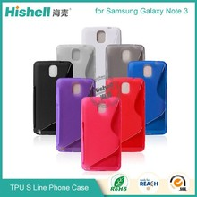 hot selling china manufacturer waterproof s line design tpu cell phone cover for Samsung Note3