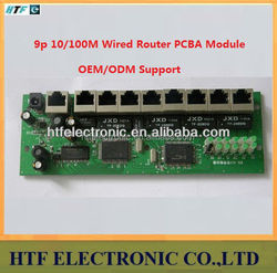 Customized 9port 10/100M Broadband network Router pcb Module