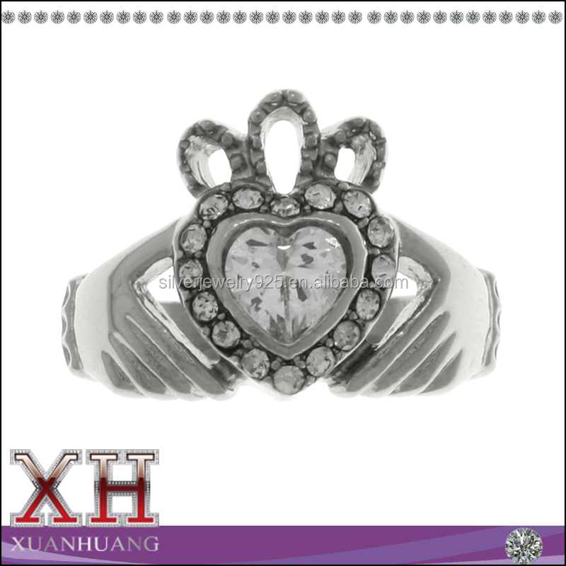 Made in China Sterling Silver White CZ Claddagh Heart Crown Celtic Ring