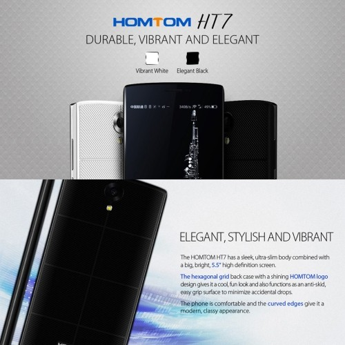 Newest wholesales free sample HOMTOM HT7 8GB, 4G phone,5.5 inch Android 5.1 MTK6580A Quad Core 1.0GHz, RAM:1GB(Black)