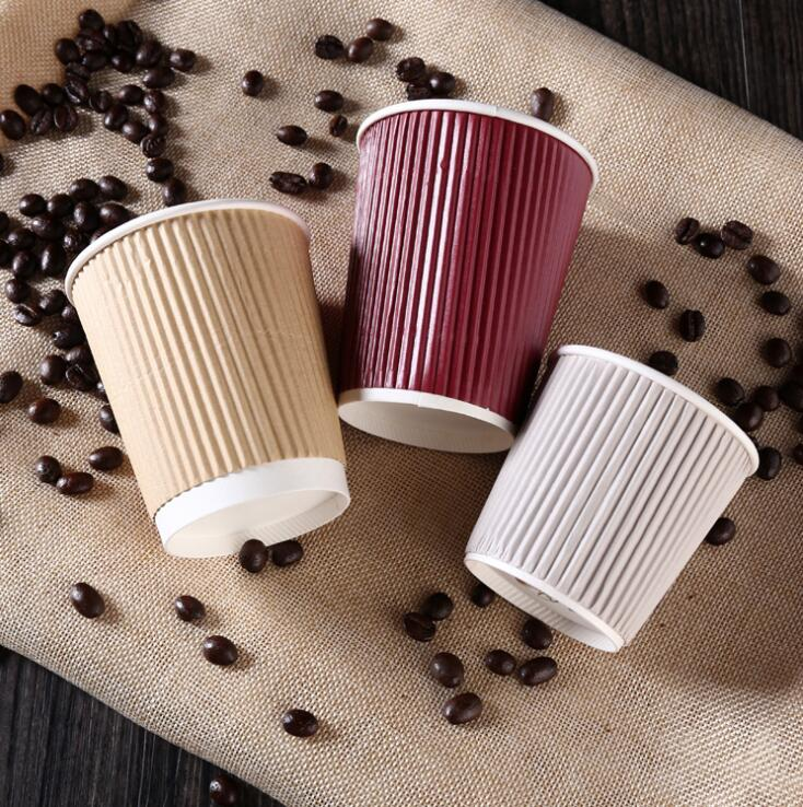 8oz High Quality Heat Insulation Ripple Wall Paper Cup with PP Lids