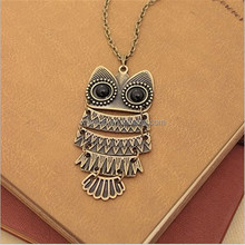 Crystal Owl Pendant Necklace Collier Chain Rhinestone Necklace Women Costume Jewellery