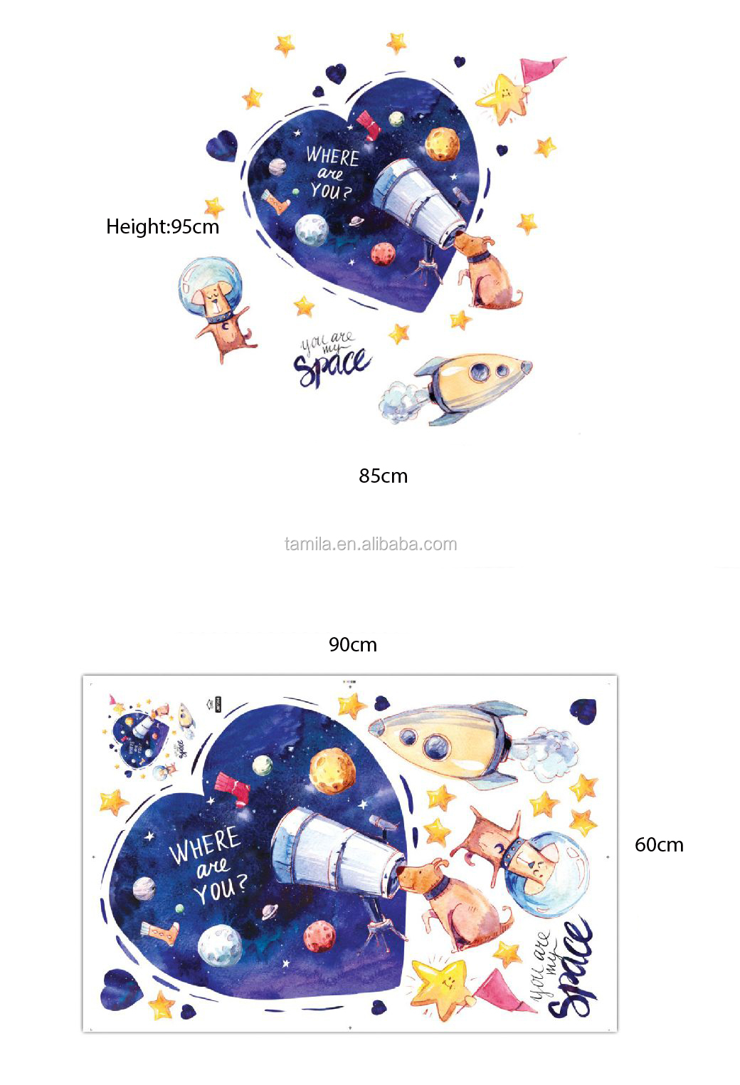 Creative Cartoon Love Heart Animal Wall Decals Fun Planets in Space Wall Stickers
