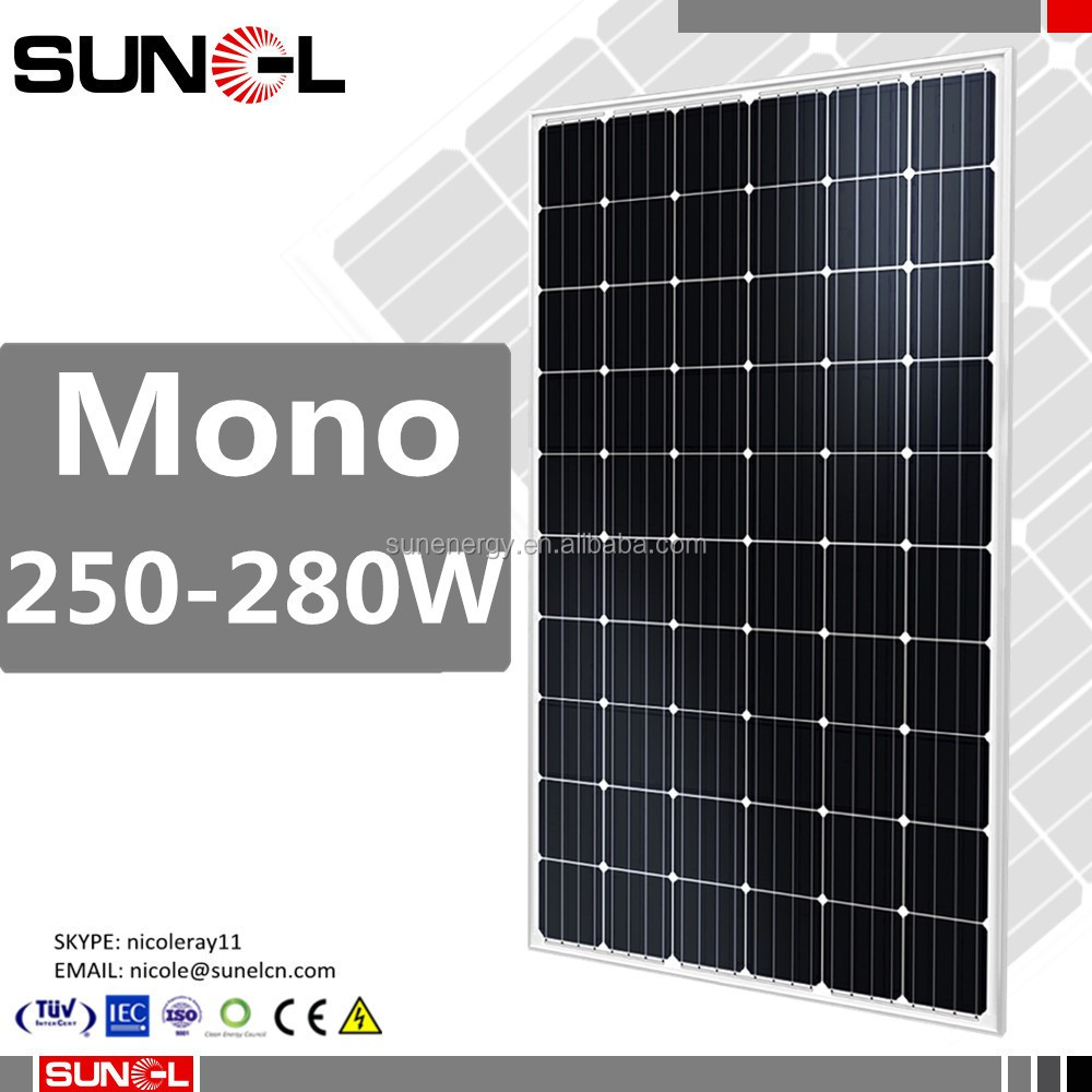 black color mono 260w 270w 280w solar pv modules with 4BB cells