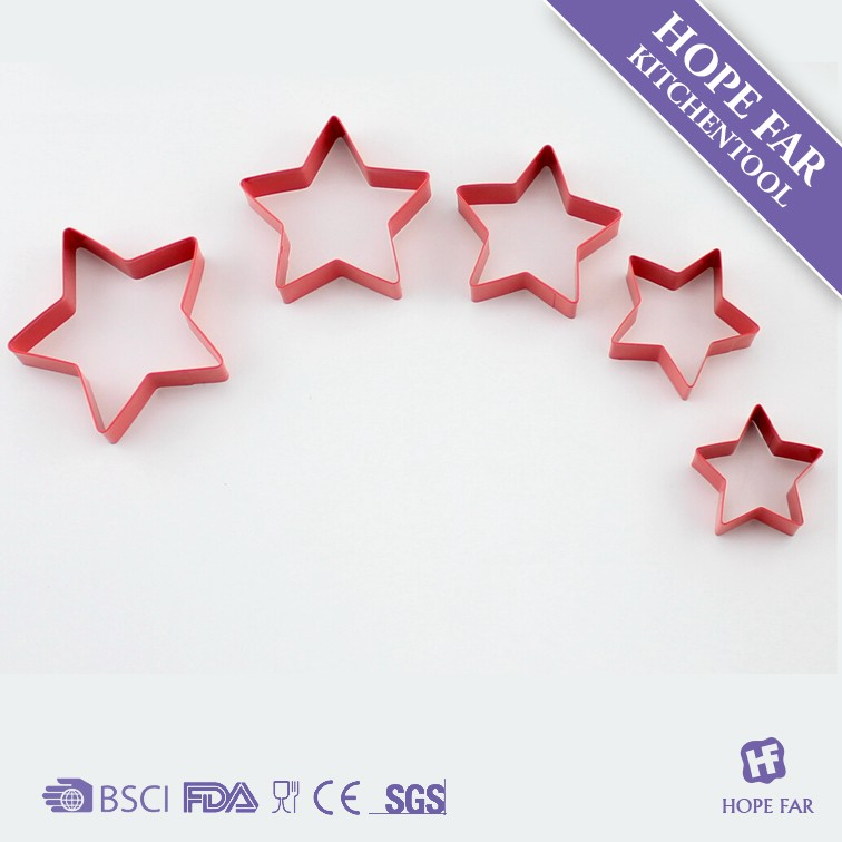 0300112 6pcs stainless steel coating star shaped cake mould ,cookie cutters