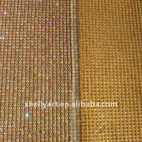 Hot fix rhinestone mesh 3mm crystal AB with gold base