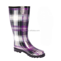 women fashion plaid print knee high rubber boots durable flat working shoes