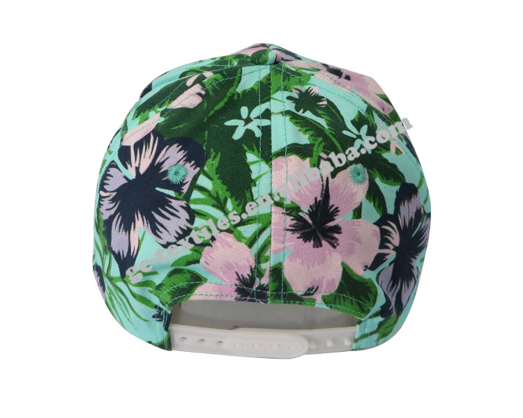 2015 fashion & popular flower and leaf imprint 5 panel cap