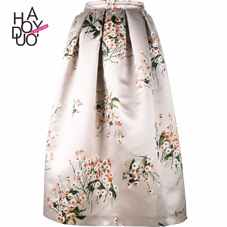 HAODUOYI Women Flower Printing Skirt Casual Midi Elegant High Waist Satin Skirt