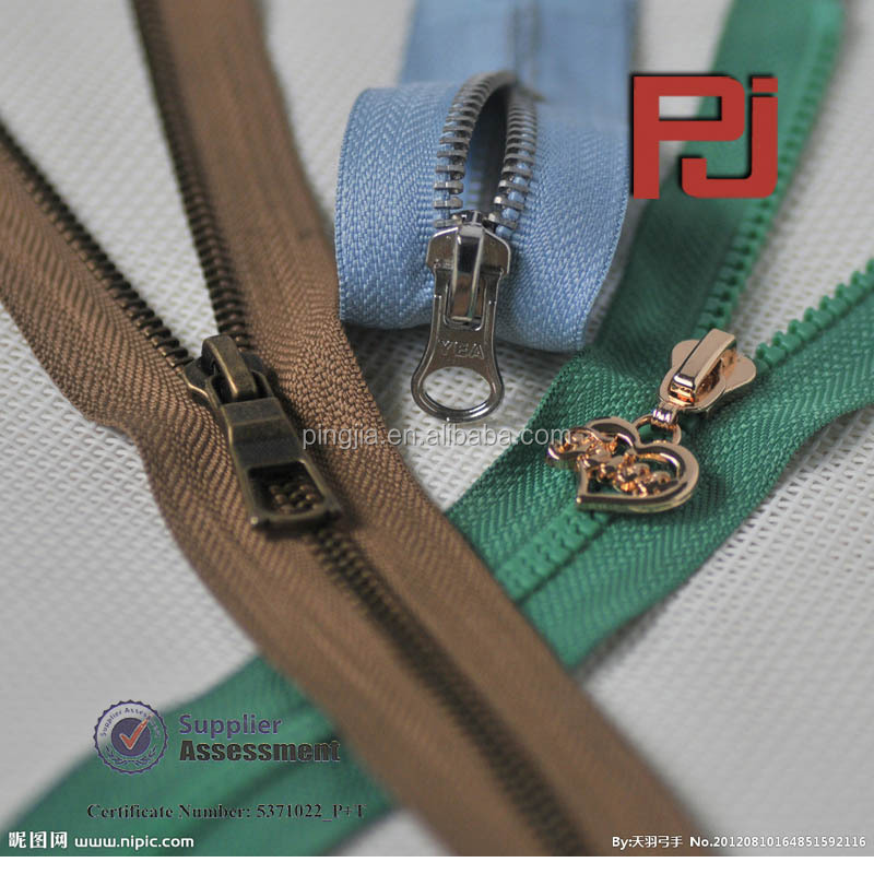 Different style Customized heavy duty metal zipper
