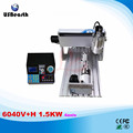 6040V+H 1.5KW 4axis mini CNC router with VFD limit and 1.5KW VFD water cooling spindle wood lathe
