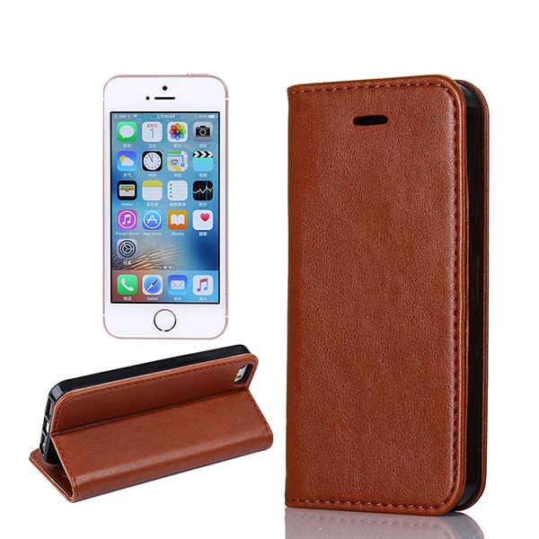 For Amazon Store Customized No Belt Magnet Cover For iPhone 5S Leather Flip Phone Case , For iPhone SE Leather Wallet Phone Case