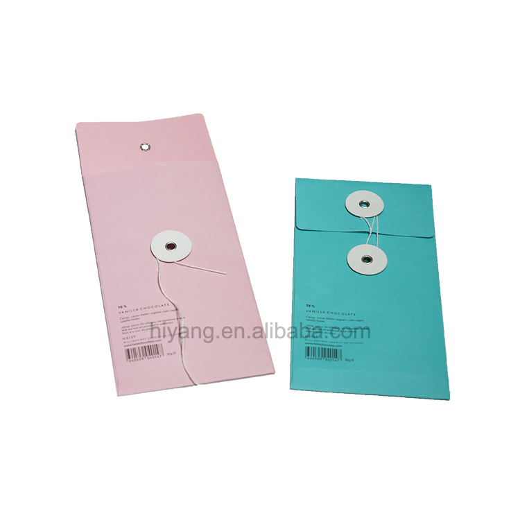 Fancy Colorful Printing Paper Envelope with String and Button