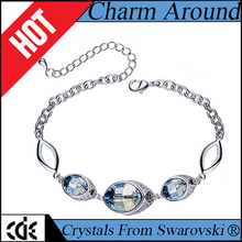 CDE crystals from Swarovski hand jewelry OEM manufacturer private label bulk custom logo 2017 fashion lucky charm bead bracelet