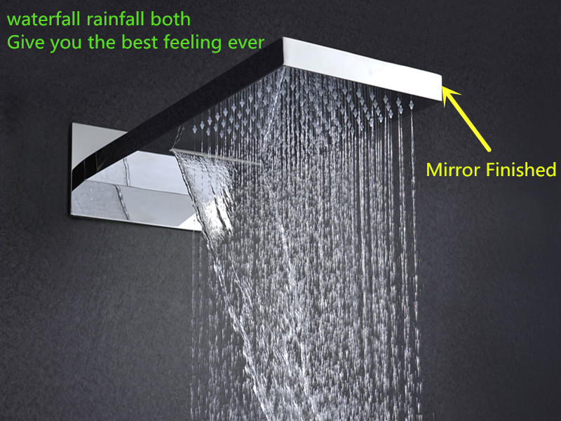 Modern Three Function In Wall Rain Waterfall Bathroom Shower LED 3 Color Change Faucet Accessories