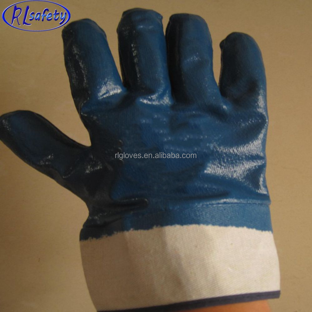 favorable price top quality Jersey Liner nitrile fully dipped chemical industrial safety glove