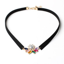 Beautiful Multicolor Crystal Floating Pendant Choker Necklace