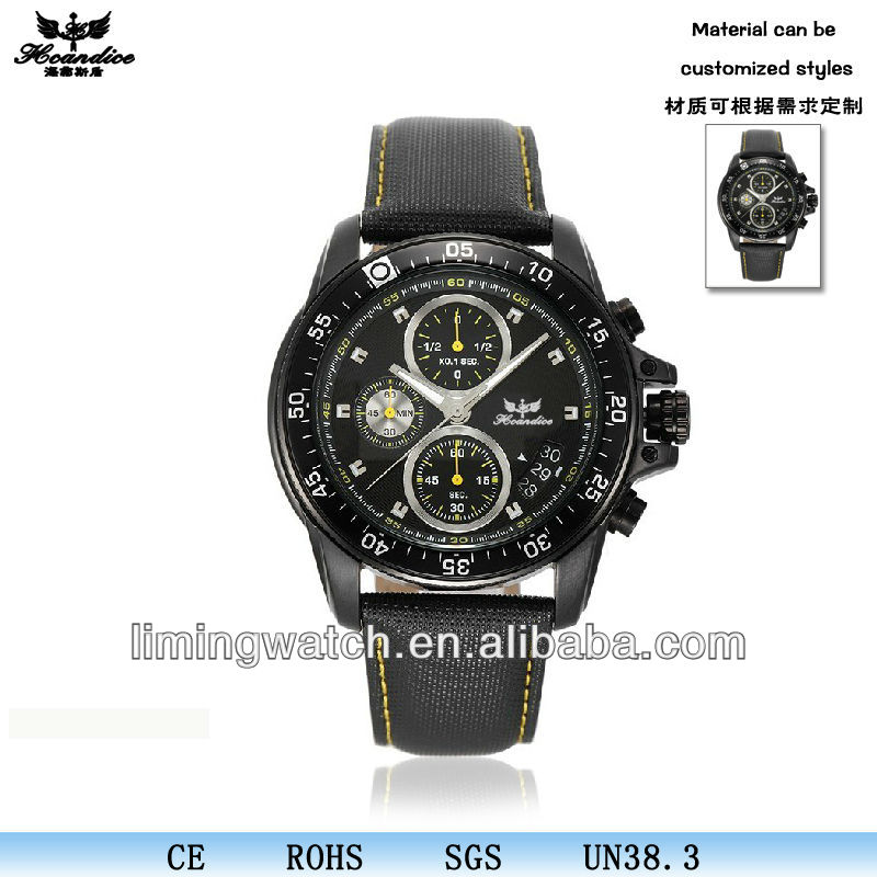 2017 top Hot selling vogue black Chronograph sport mens surface watches