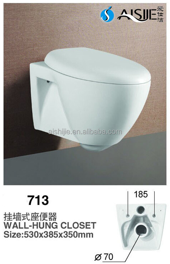 713 Good Quality European p-trap Square Wall Hung Toilet