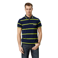 new style latest men's stripe polo t-shirt in 100% cotton