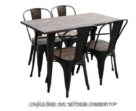 TH-T1003S metal legs dining table with wood desktop