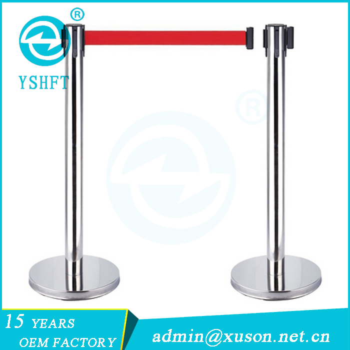 stainless steel silver retractable protective barrier post stand pipe stanchion
