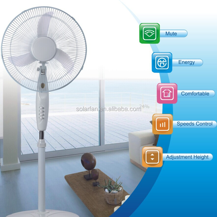 "16 "" dc 12v solar stand fan/lithium battery operated stand fan/rechargeable fan Model:MD-416"