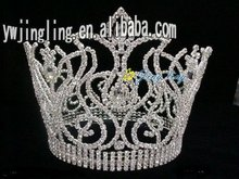 large full round rhinestone crystal silver pageant crowns for sale