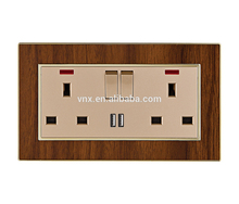 Switch factory High Quality 2 gang double 13A wall socket with usb