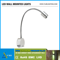 YJB-0001 IP20 PF0.9 RGB LOW power 1W reading gooseneck flexible neck LED wall mounted lights