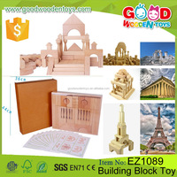 110 Pieces Natural Beechwood Natural Block-3 Trays Toy Brick Game Children Wooden Building Block Toy