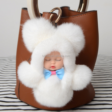 2017 adorable baby rex rabbit fur hair doll plush baby sleeping Keychain cute gifts for bag or car pendant