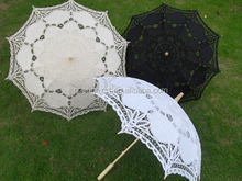 Out-door wedding supplies White black & ivory color diameter 27.5 inches long-straight fashion lace parasols Bridal sun umbrella