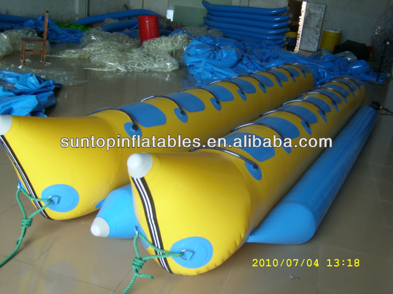 Hot sales newest funny and fatastic inflatable double banana boat/sport games:0.9mm PVC Tarpaulin from PLATO SUPPLIER