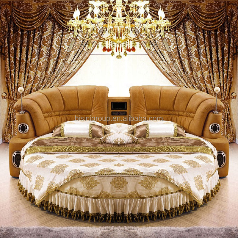 Mordern Leather Round Bed Hotel Musical Round Bed With Speaker & Screen