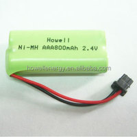On Sale from Shenzhen AAA 800mAh 2.4V 2 cells rechargeable NiMH battery pack for shaver battery