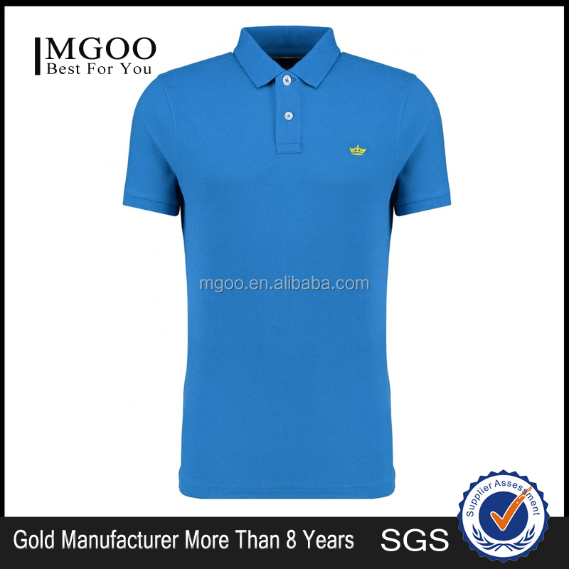 mgoo fashion blue logo brand polo shirts 240g 100 cotton