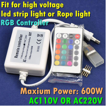 AC110V or AC220V 600W High Voltage LED Strip Light RGB Controller With 24 keys Remote