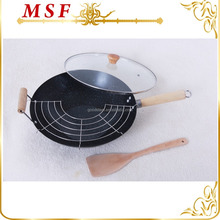 34cm carbon steel marble coating wok pan with grill rack and wooden spatula
