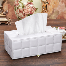 Sheep Leather rectangle tissue box cover for home office Paper Towel Napkin Holder