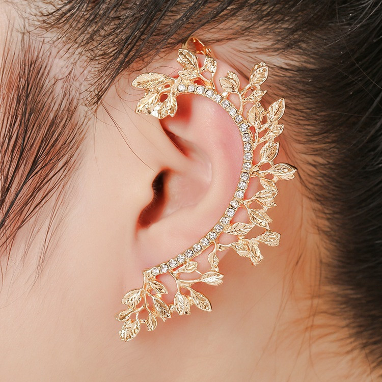 New Latest Design Wholesale Diamond Leaf Cuff <strong>Earring</strong> For Girls