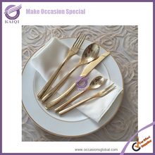 QT00014 new gold wedding unbreakable top quality stocked dinnerware set